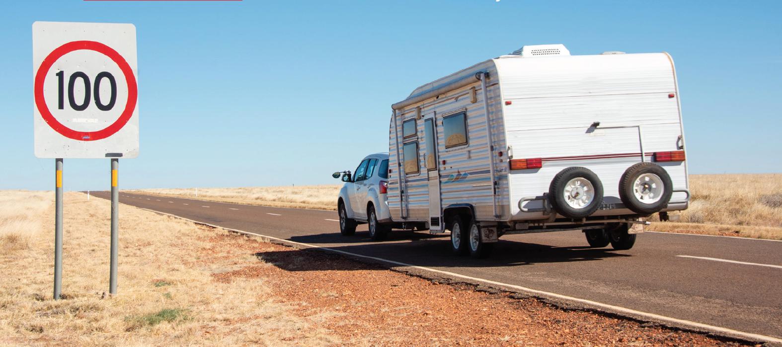 car driving with caravan