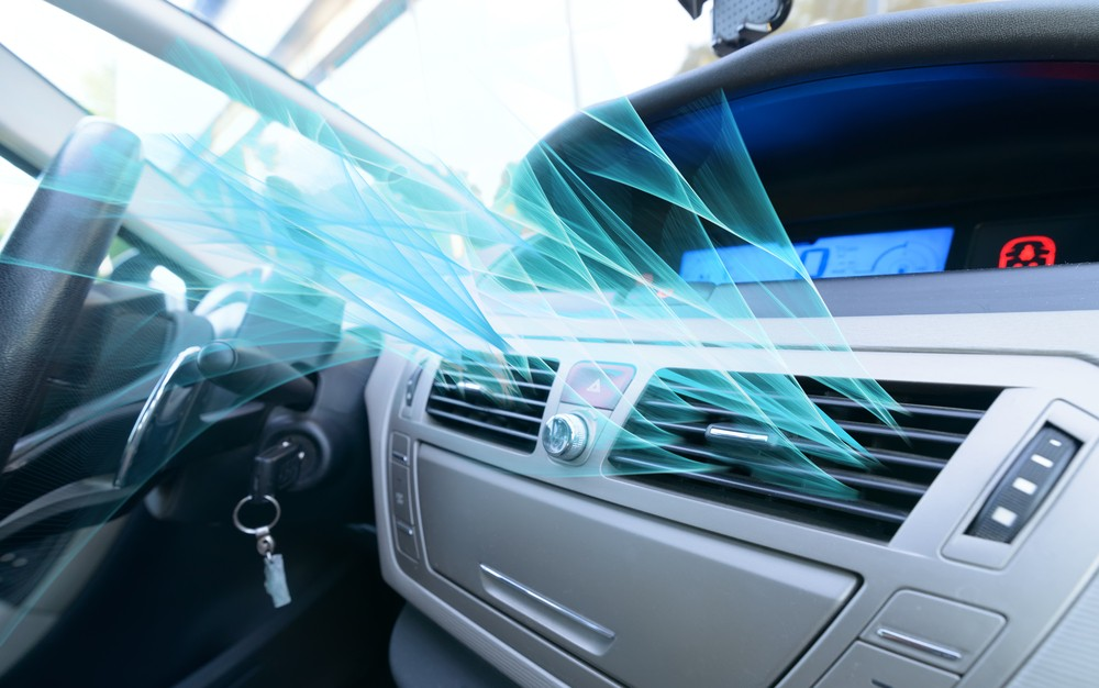 car air conditioner with animated air flow